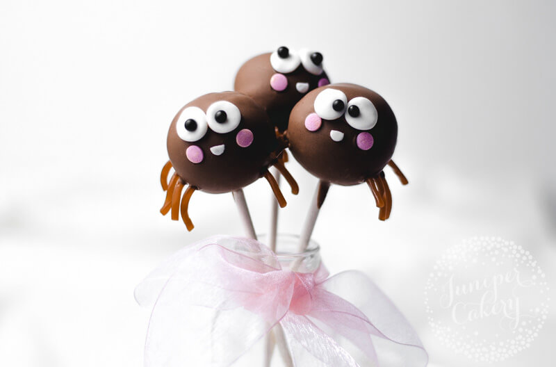 Chocolate spider cake pops tutorial by Juniper Cakery