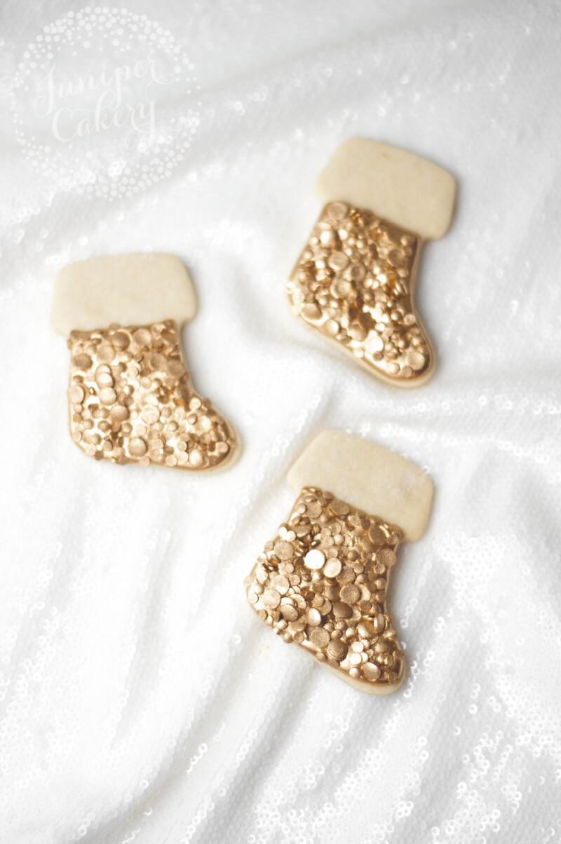 Golden sequin Christmas stocking cookie tutorial