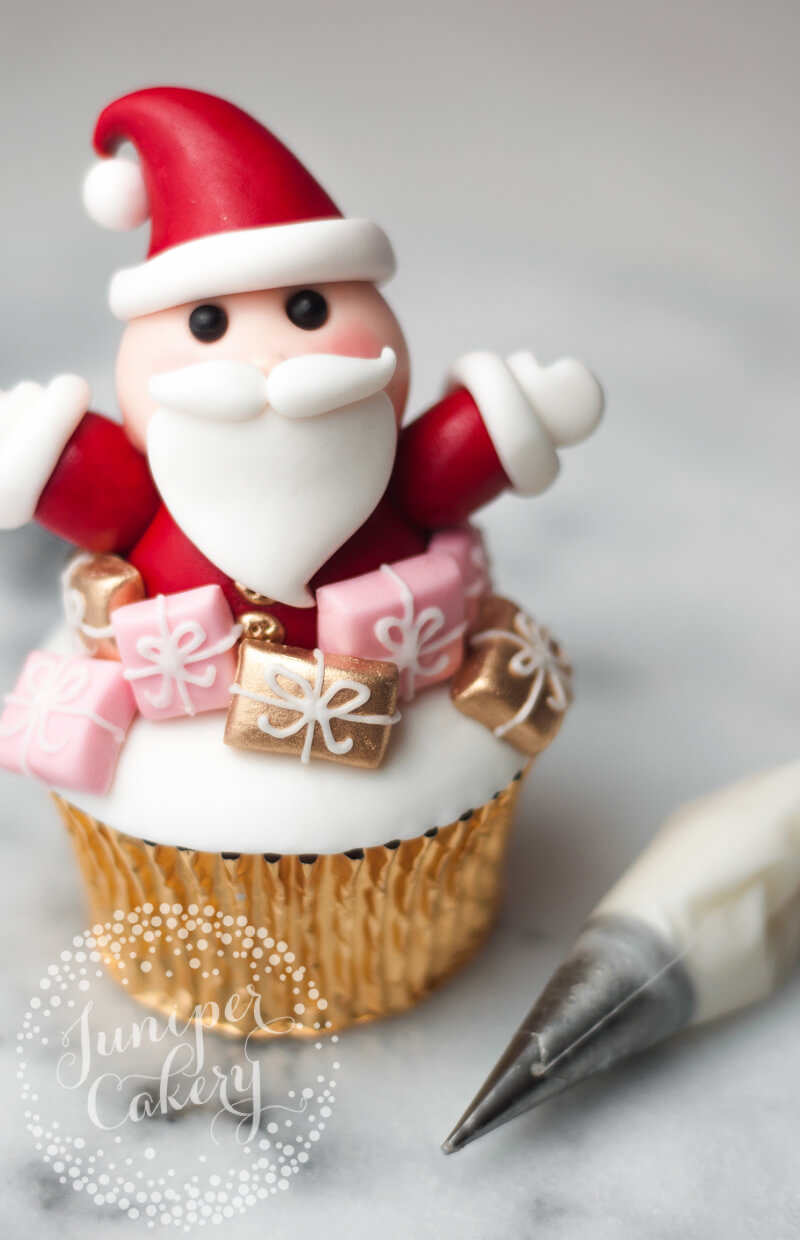 How to decorate a Santa cupcake