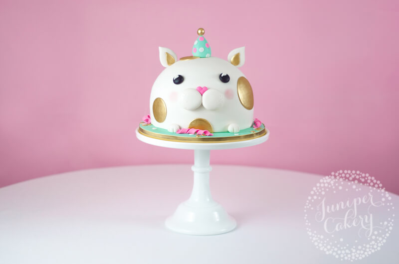 Adorable cat in a Party Hat Birthday Cake
