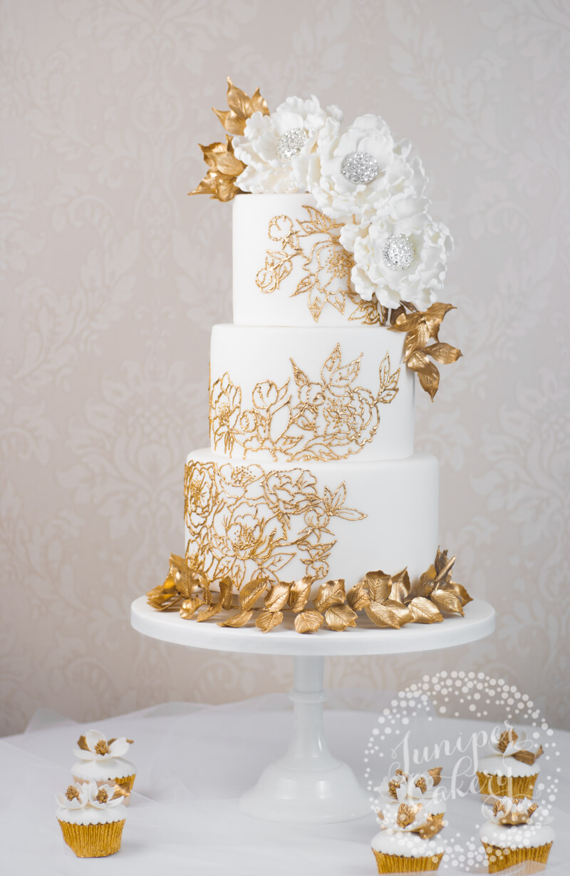 Gold Lace Wedding Cake By Juniper Cakery Juniper Cakery Bespoke