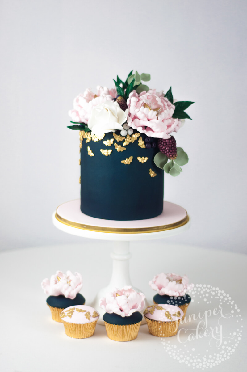 Navy and blush cake by Juniper Cakery