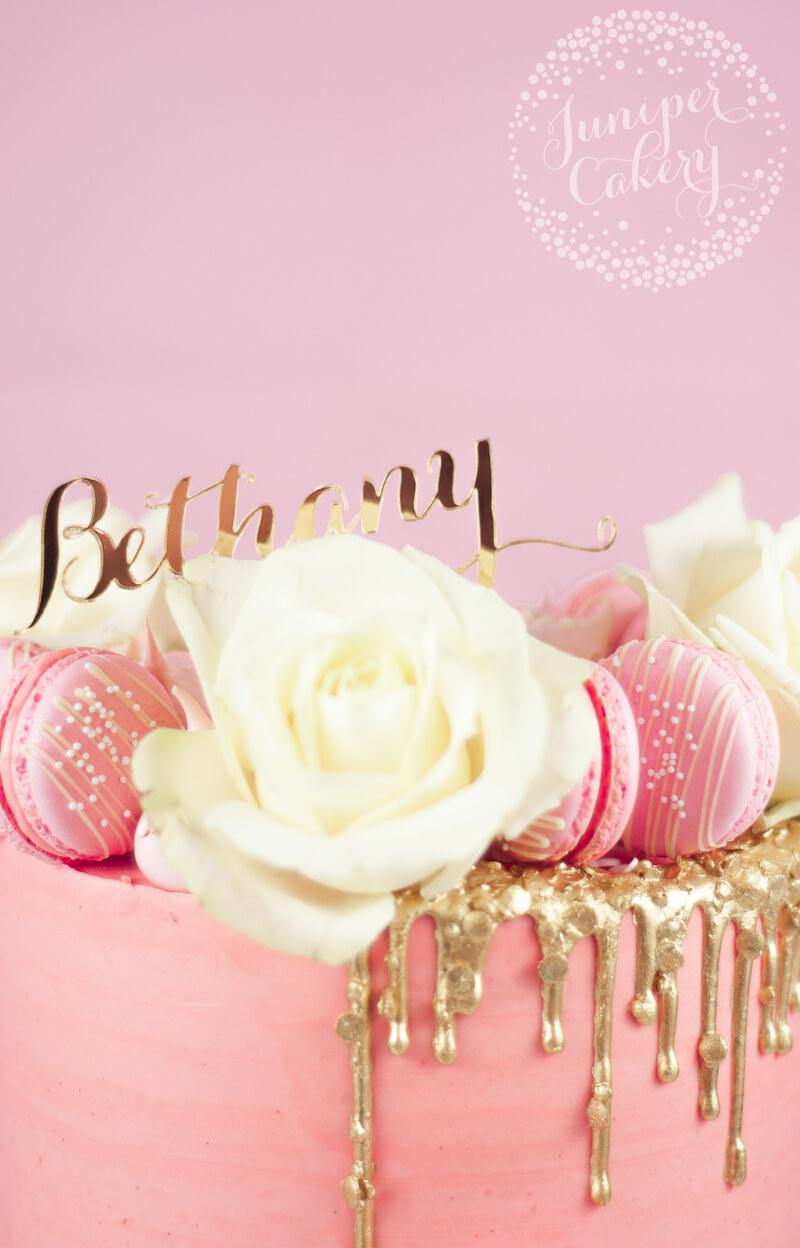 Gold sequin drip birthday cake by Juniper Cakery