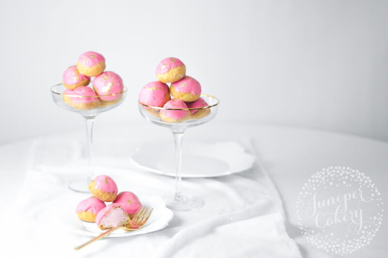 Pretty Strawberry Milkshake Cream Puffs recipe by Juniper Cakery