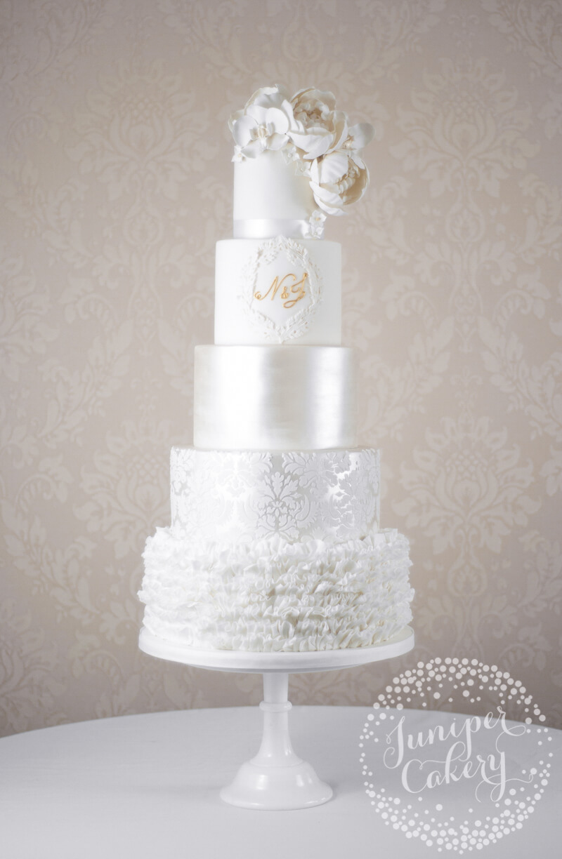 Glamorous and grand white wedding cake by Juniper Cakery - Juniper ...