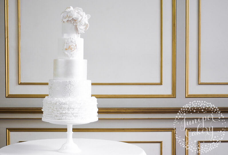 White on white wedding cake at Rise Hall by Juniper Cakery