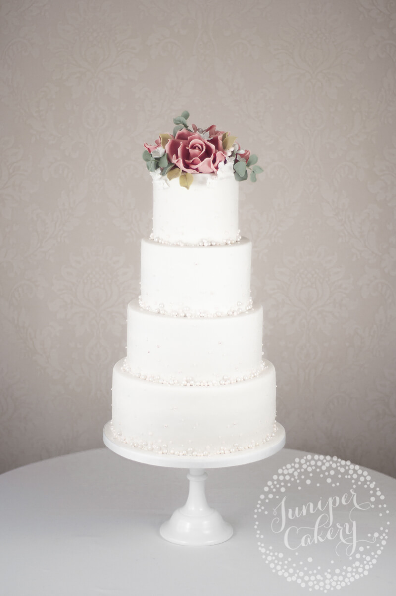 Rose wedding cake with pearls by Juniper Cakery