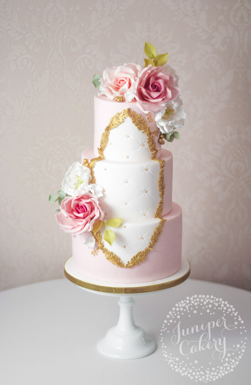Gorgeous Rose Rococo Wedding Cake by Juniper Cakery