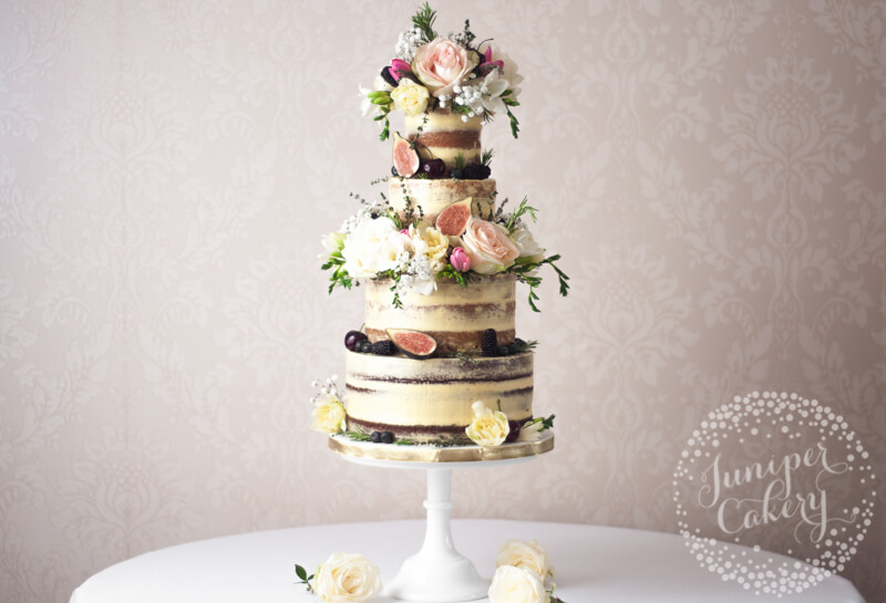 English garden inspired semi-naked wedding cake by Juniper Cakery