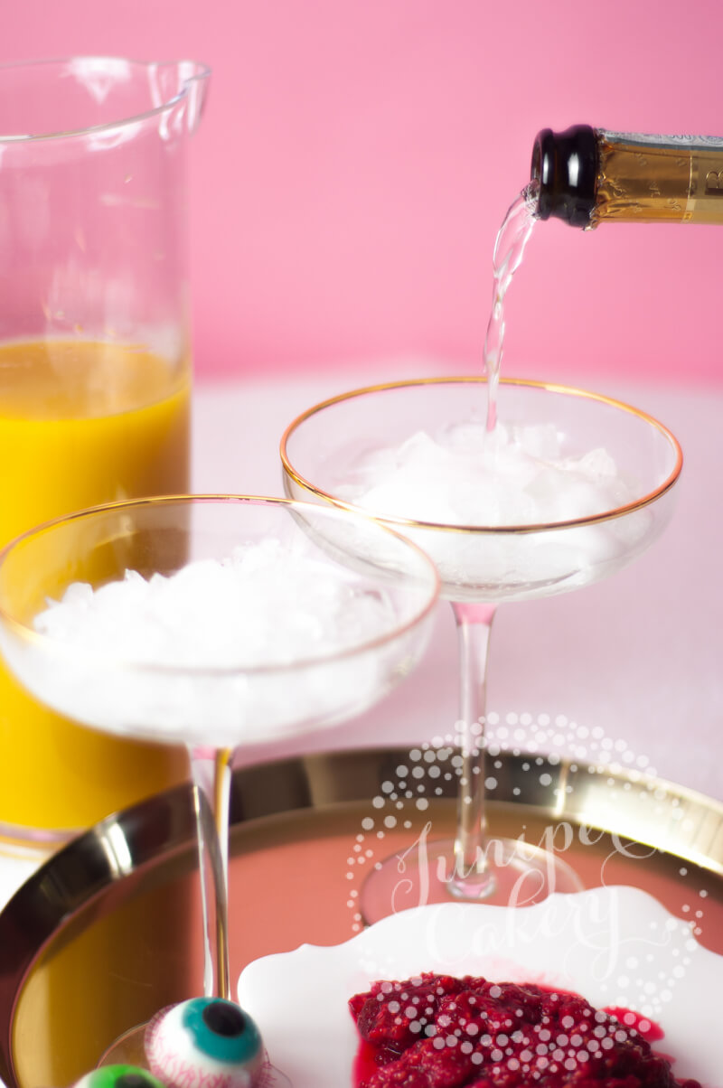 Halloween prosecco cocktail by Juniper Cakery
