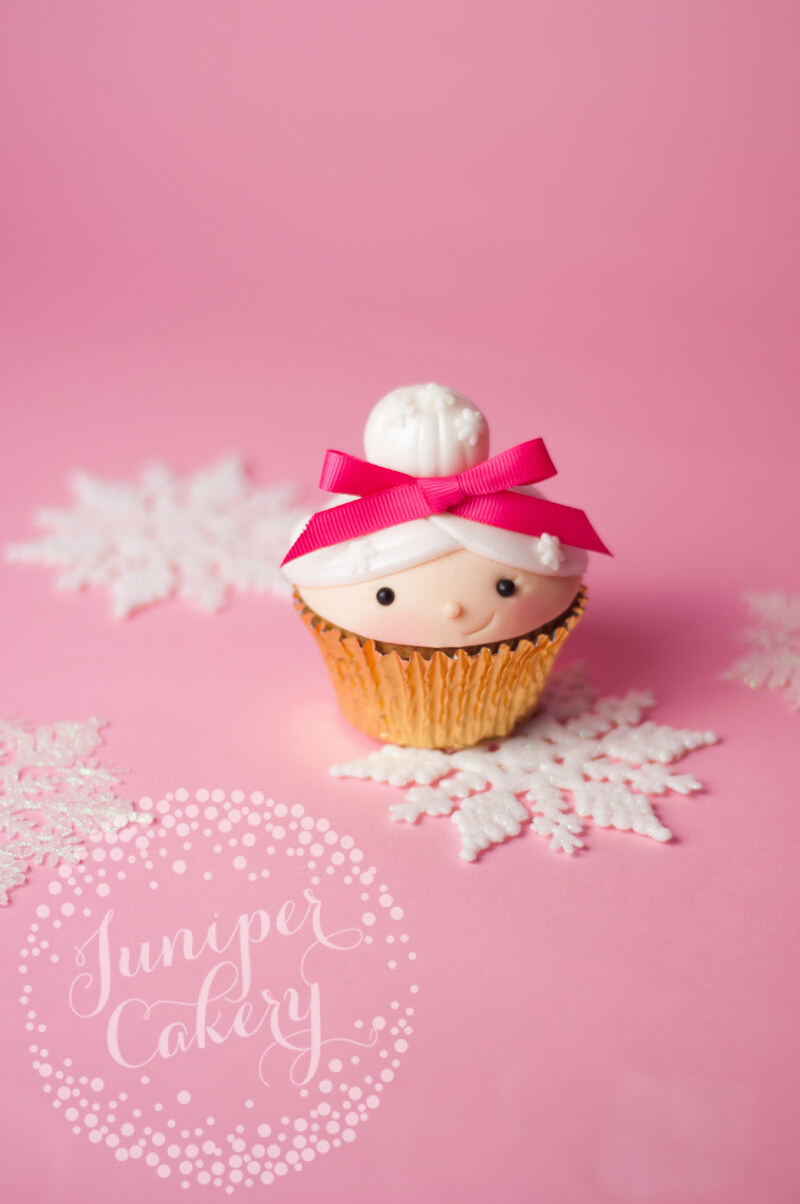 Cute Mrs Claus cupcake for Benefit Cosmetics by Juniper Cakery