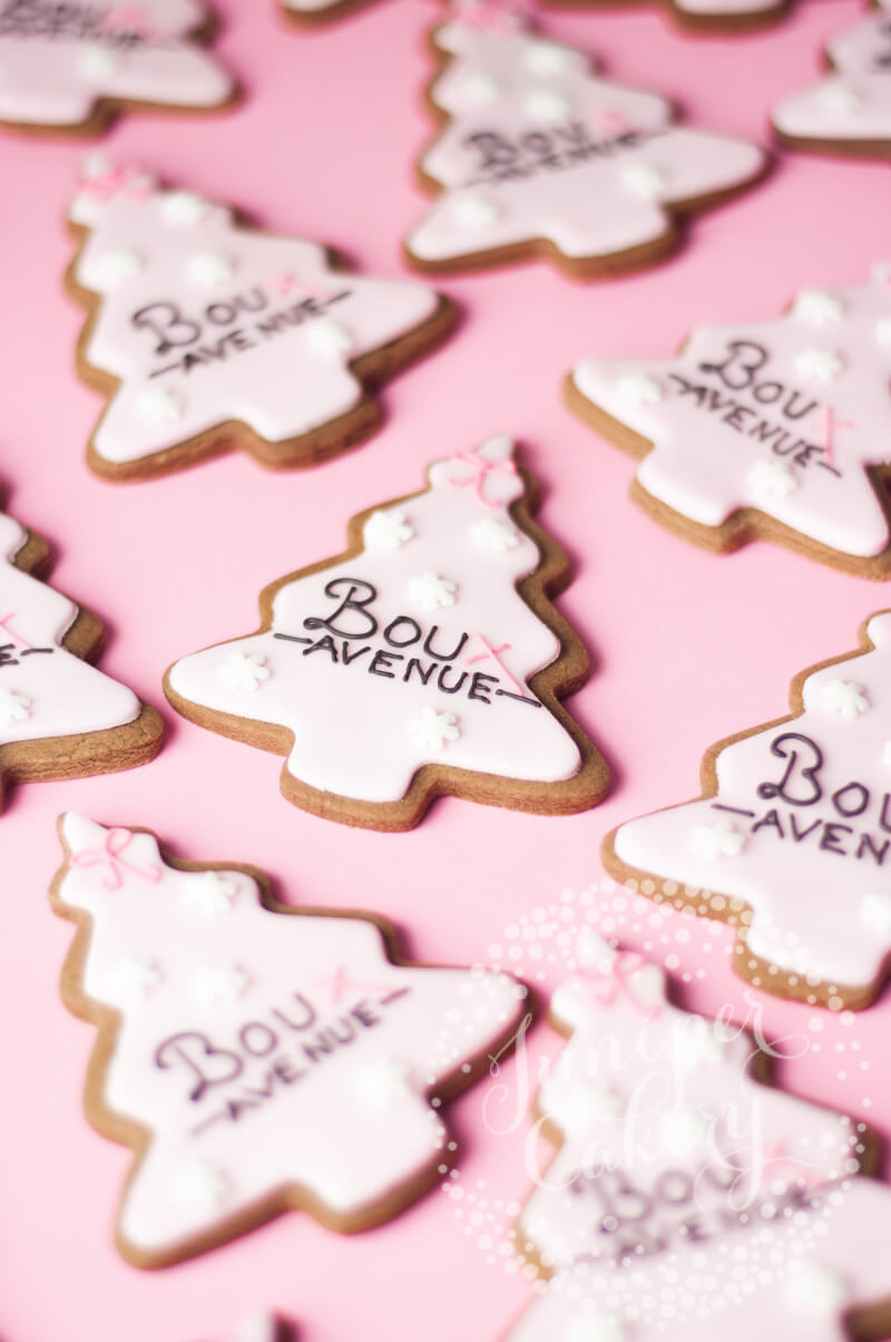 Pink Christmas tree Boux Avenue cookies by Juniper Cakery