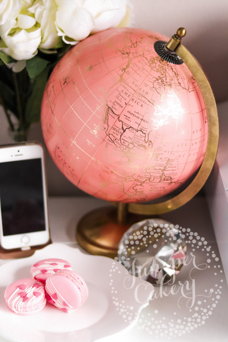Pink and gold desk globe