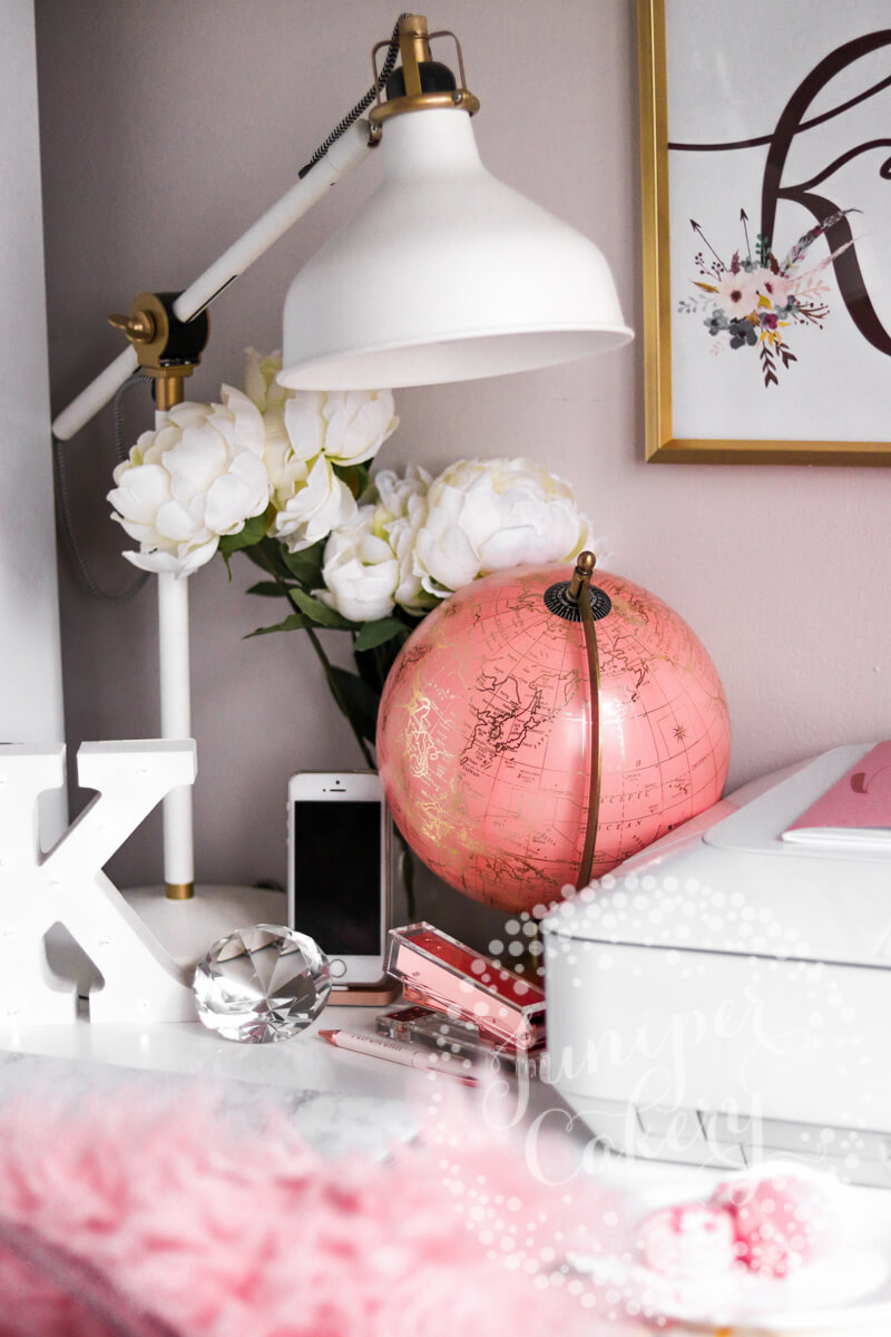 Pink and white office space of Juniper Cakery