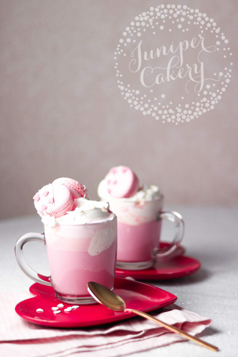 Try this recipe for pink hot chocolate from Juniper Cakery