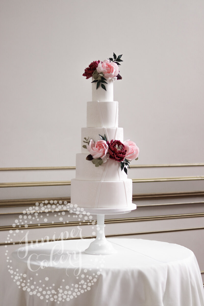 Pretty modern garden wedding cake by Juniper Cakery for Rise Hall