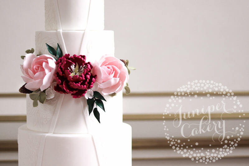 Sugar flower wedding cake by Juniper Cakery
