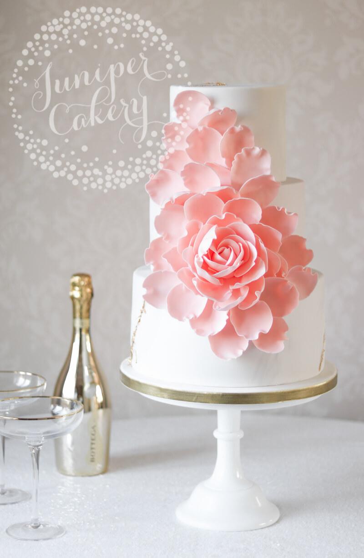 Sweet Peach Exploding Rose Wedding Cake by Juniper Cakery - Juniper ...