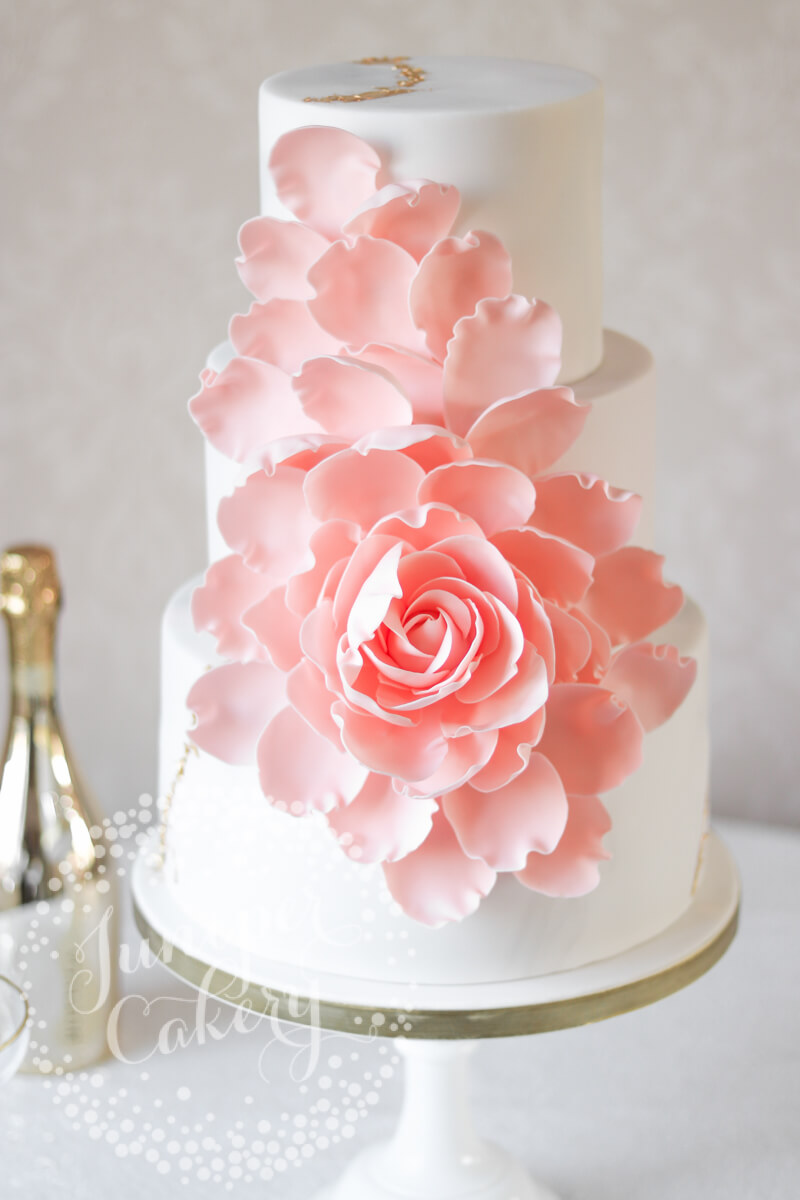 Beautiful Peach Exploding Rose Wedding Cake by Juniper Cakery
