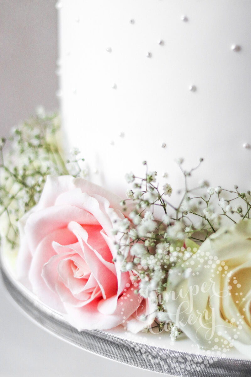 Pretty Pretty Pearl Wedding Cake with Fresh Blooms by Juniper Cakery