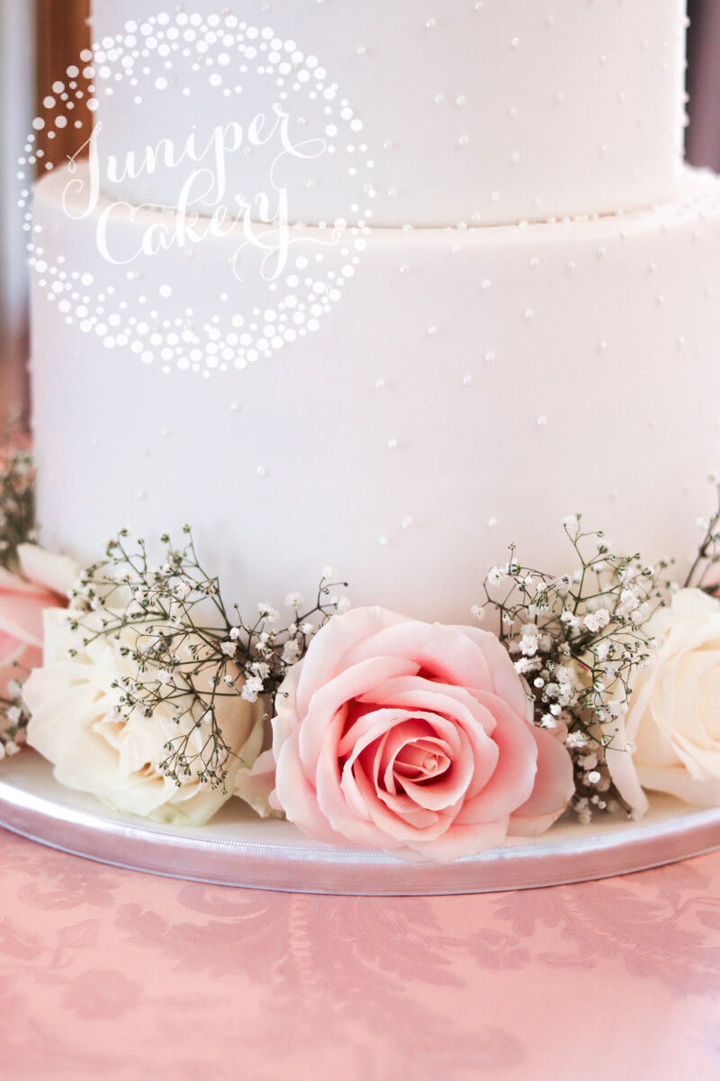 Gorgeous Pretty Pearl Wedding Cake with Fresh Flowers by Juniper Cakery