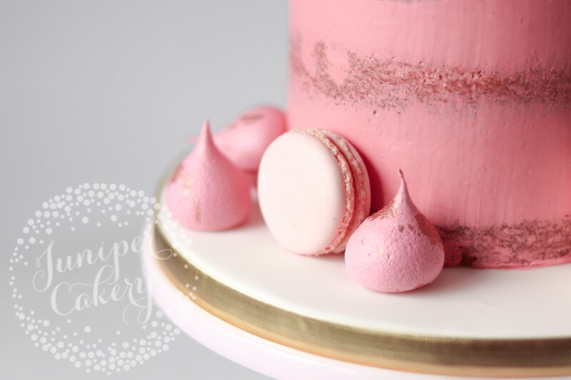 Blush, bubblegum pink and rose gold sem0naked cake by Juniper Cakery