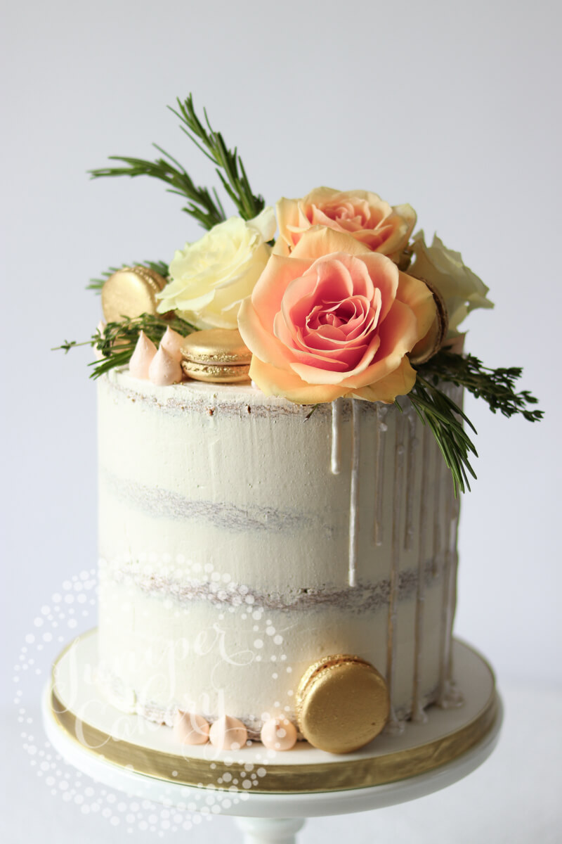 White On White Semi-Naked Cake With Fresh Peach Ombr Roses-3119
