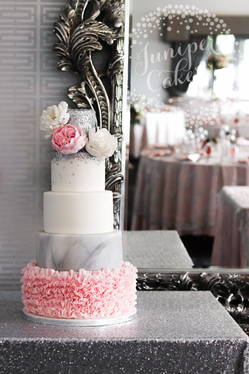 Silver sequin and grey marble wedding cake by Juniper Cakery