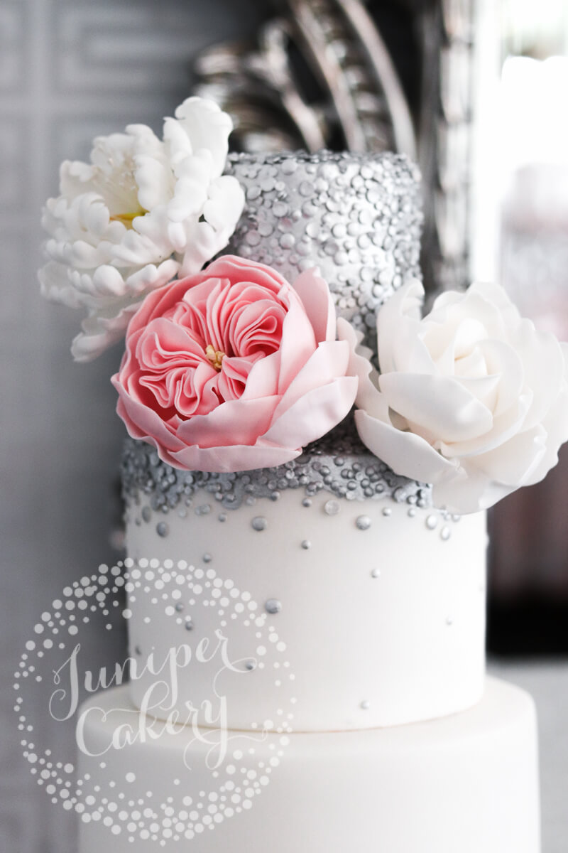 Beautiful silver sequin wedding cake by Juniper Cakery