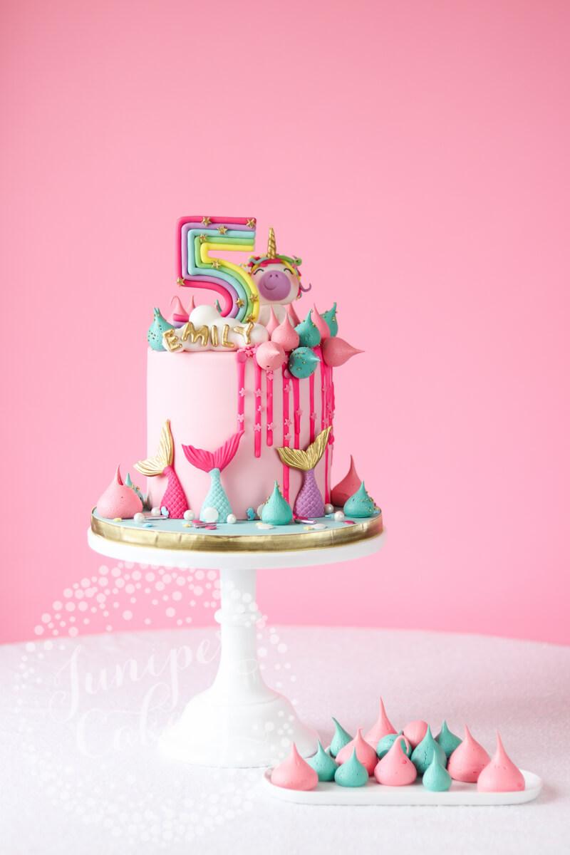 Bright and fun rainbow unicorn cake by Juniper Cakery