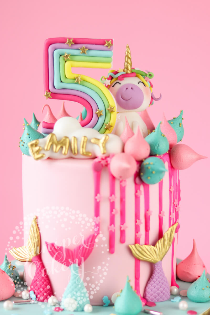 Magically Fun Rainbow Unicorn And Mermaid Birthday Cake