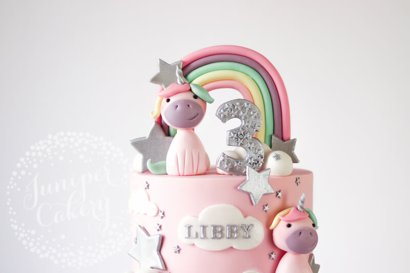 Astonishing Whimsical Silver And Pastel Rainbow Unicorn Birthday Cake Funny Birthday Cards Online Alyptdamsfinfo