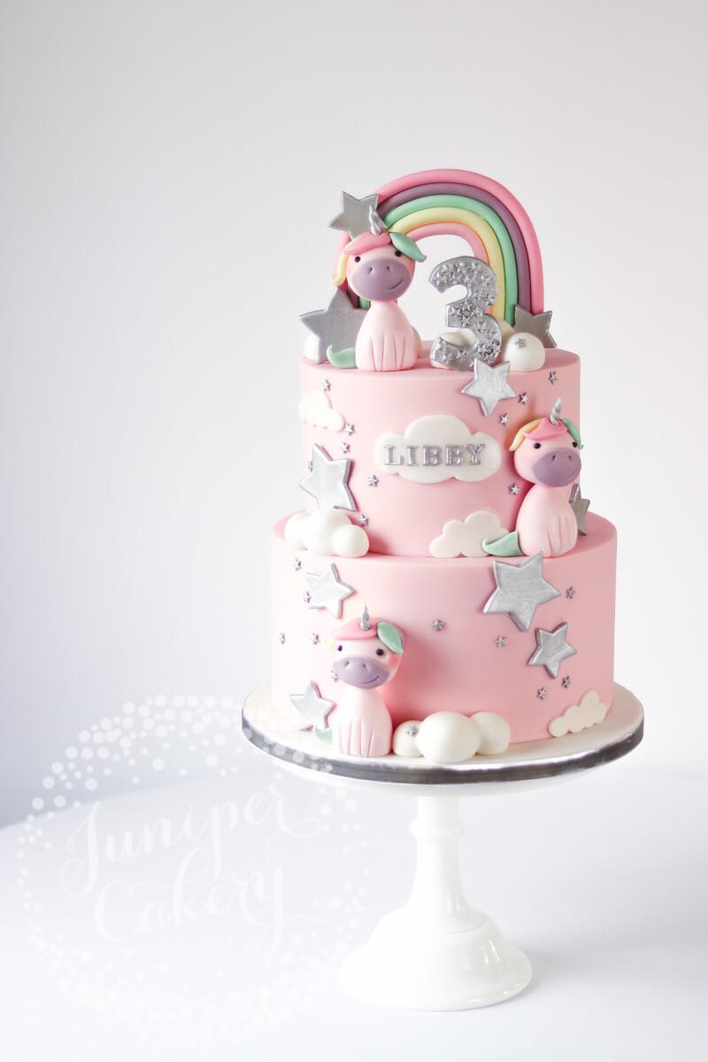 Remarkable Whimsical Silver And Pastel Rainbow Unicorn Birthday Cake Funny Birthday Cards Online Amentibdeldamsfinfo