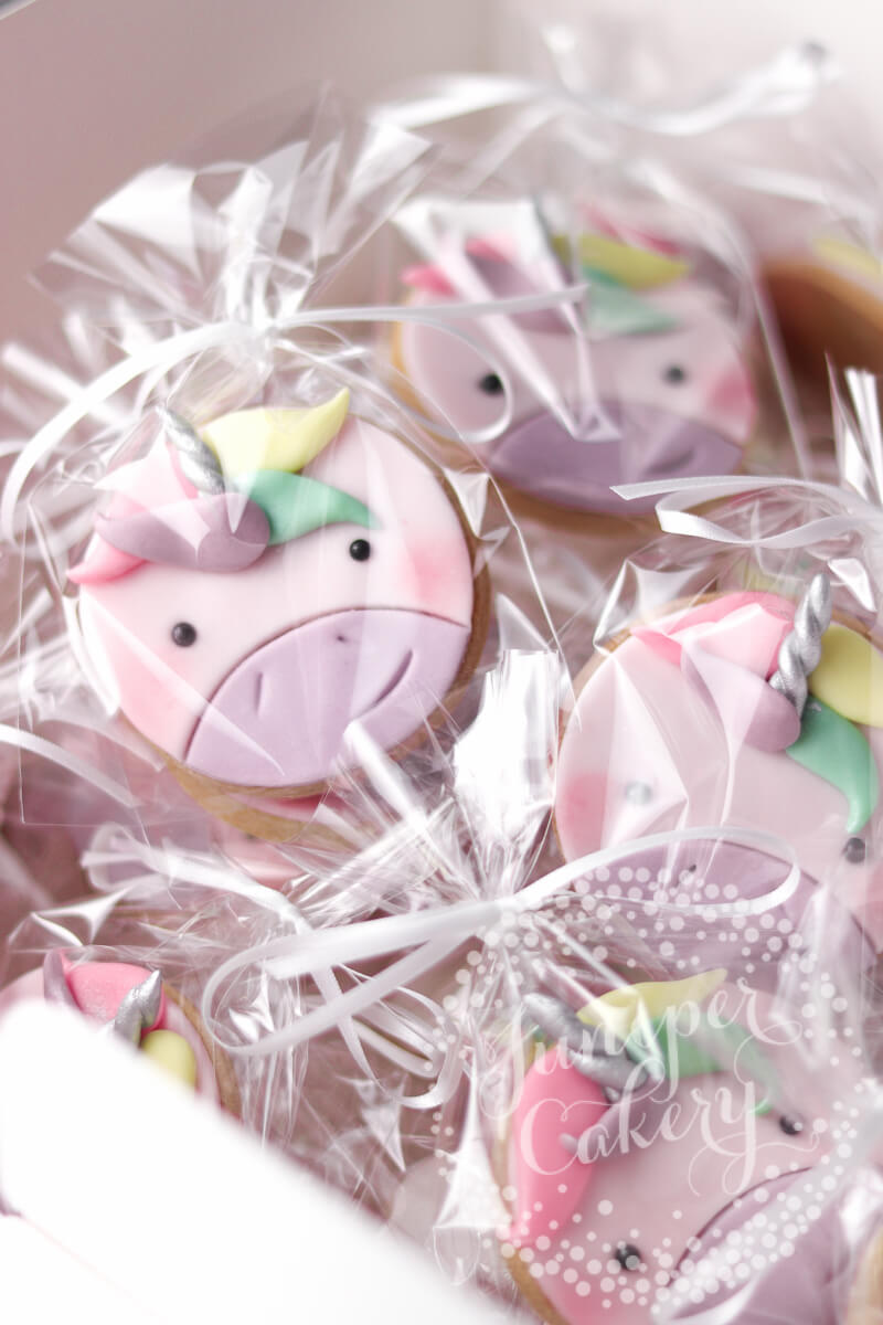 Fun unicorn cookies by Juniper Cakery