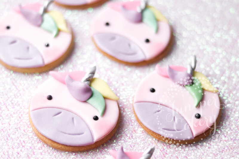 Cute rainbow unicorn cookies by Juniper Cakery