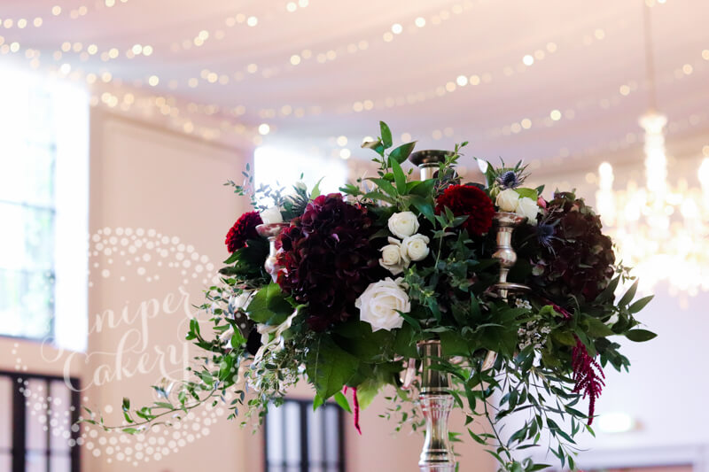 Berry and navy themed wedding at Rise Hall with flowers by Floral Lounge