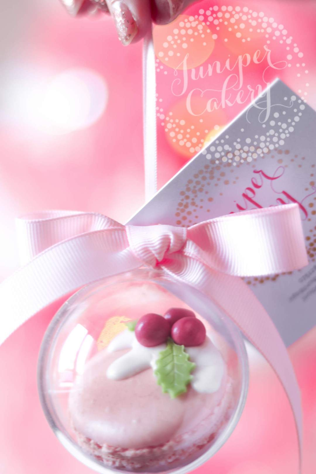 Raspberry Pink Gin macaron bauble by Juniper Cakery