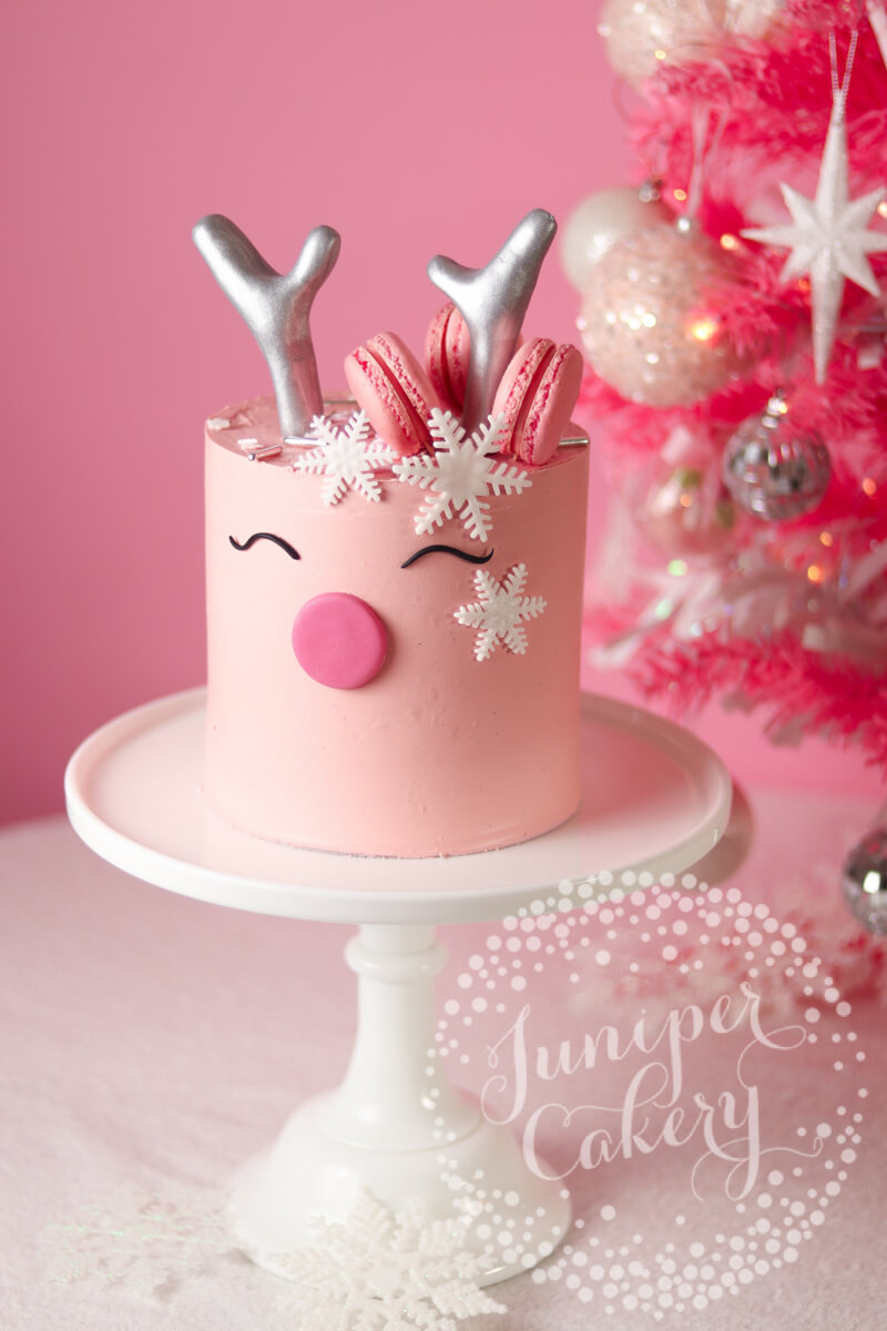 Pink Reindeer Cake Tutorial for Benefit Cosmetics by Juniper Cakery