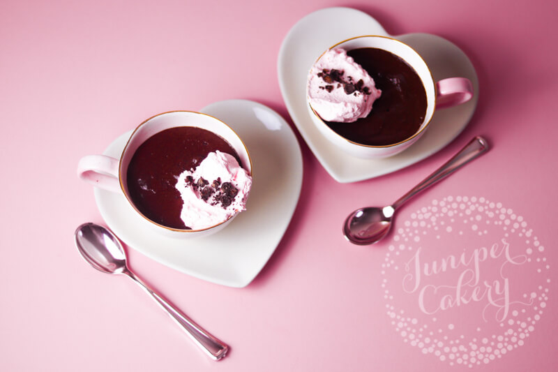 Pretty dark chocolate mousse by Juniper Cakery