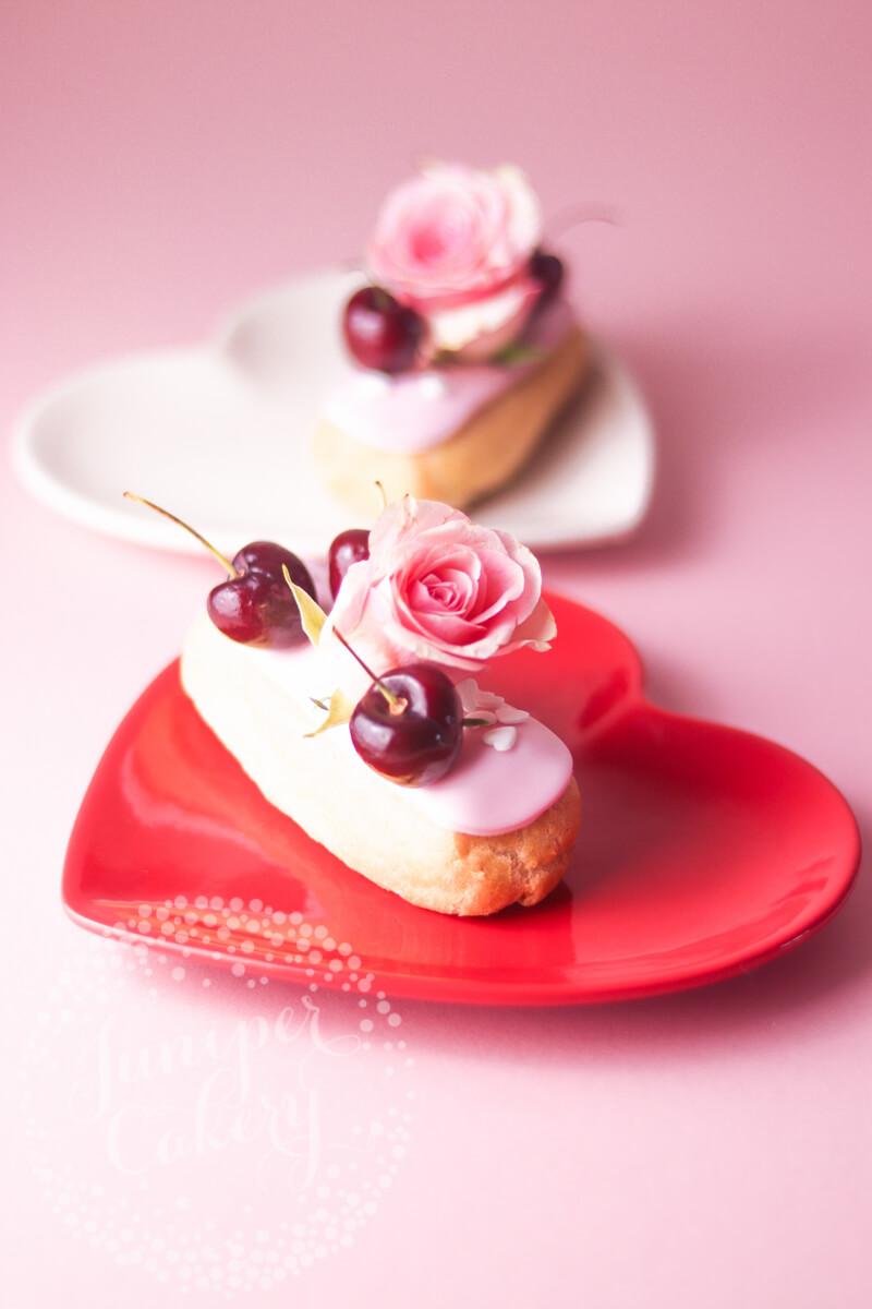 Pretty eclairs for Valentine's Day by Juniper Cakery
