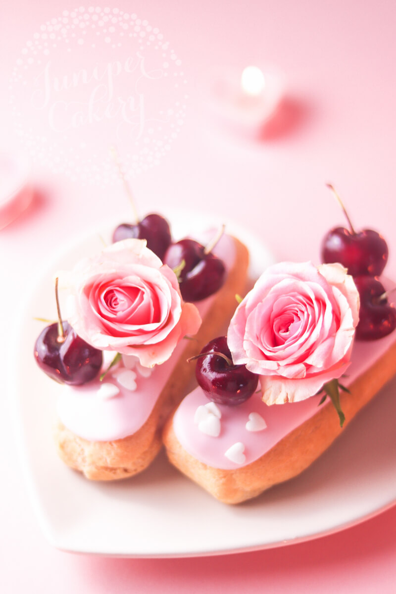 Cherry and rose bellini eclair recipe from Juniper Cakery