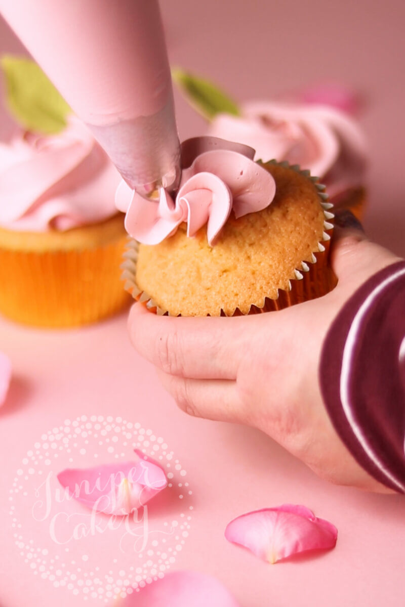 How to pipe a Valentine Rose cupcake by Juniper Cakery