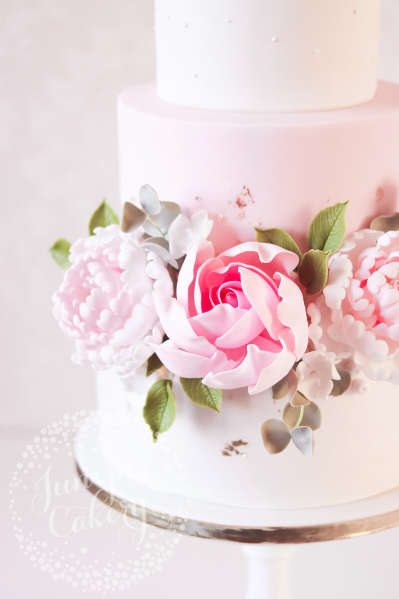 Pink Saltmarshe Hall wedding cake with Juniper Cakery