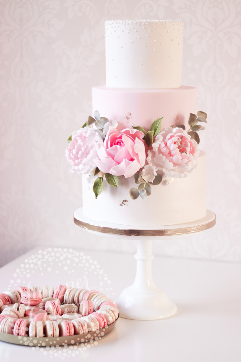 Blush pink wedding cake by Juniper Cakery