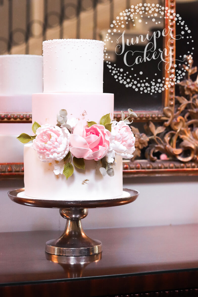 Blush Saltmarshe Hall wedding cake by Juniper Cakery