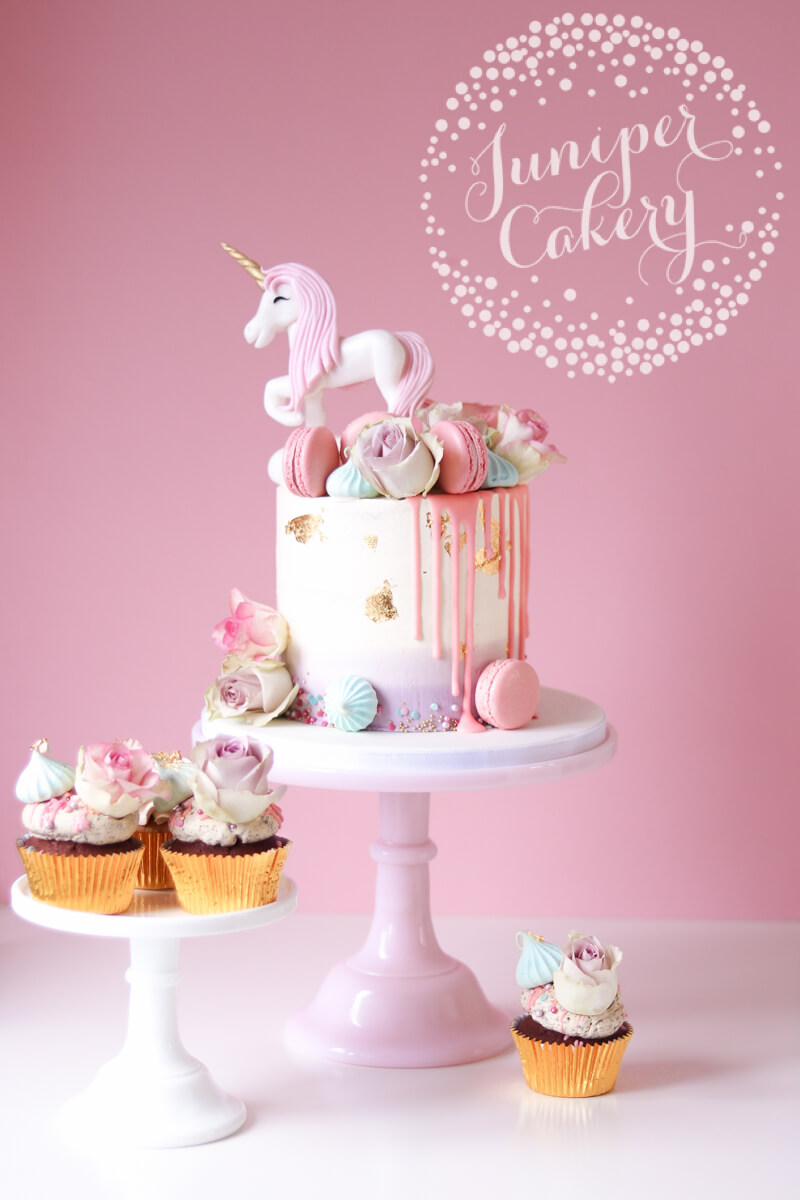 Fondant unicorn cake with buttercream by Juniper Cakery
