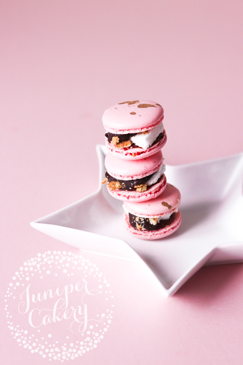 Fun S'mores macarons by Juniper Cakery