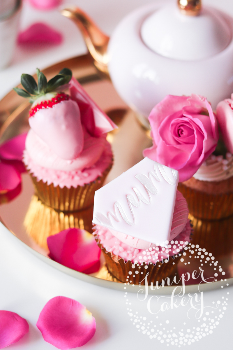 Cute Pretty in Pink Mother's Day Cupcakes by Juniper Cakery
