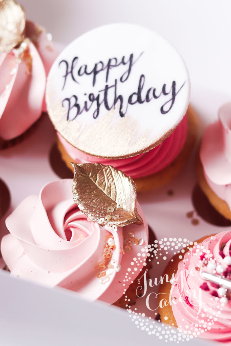 Blush pink birthday cupcakes by Juniper Cakery
