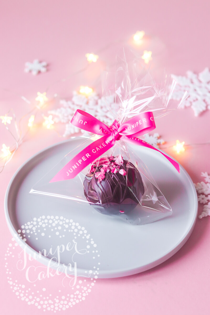 Candy Cane Hot Chocolate Bombes by Juniper Cakery
